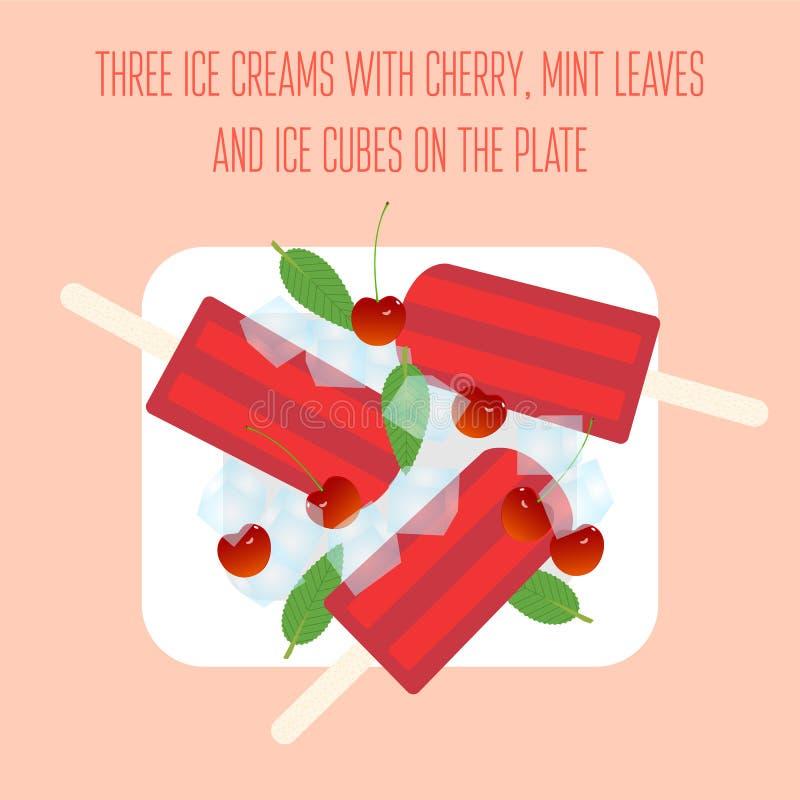 Popsicles мороженого с вишней, листьями мяты и кубами льда иллюстрация вектора