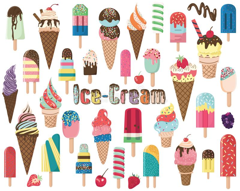 Popsicles and Ice Cream Elements royalty free illustration