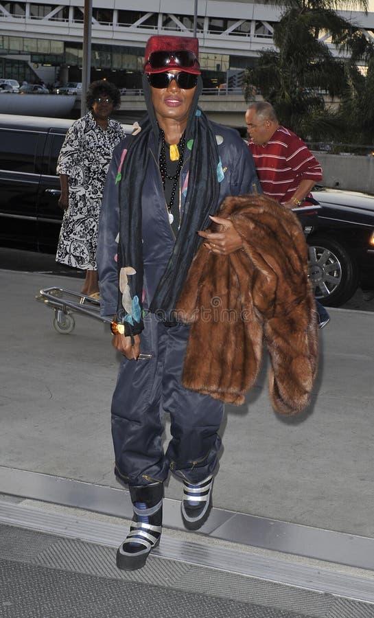 Popstar Grace Jones at LAX stock photography