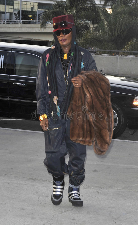 Popstar Grace Jones is seen at LAX royalty free stock images