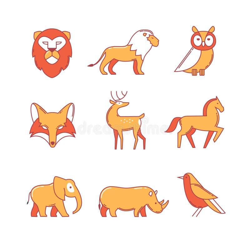 Populära lösa livdjur gör linjen symbolsuppsättning tunnare royaltyfri illustrationer