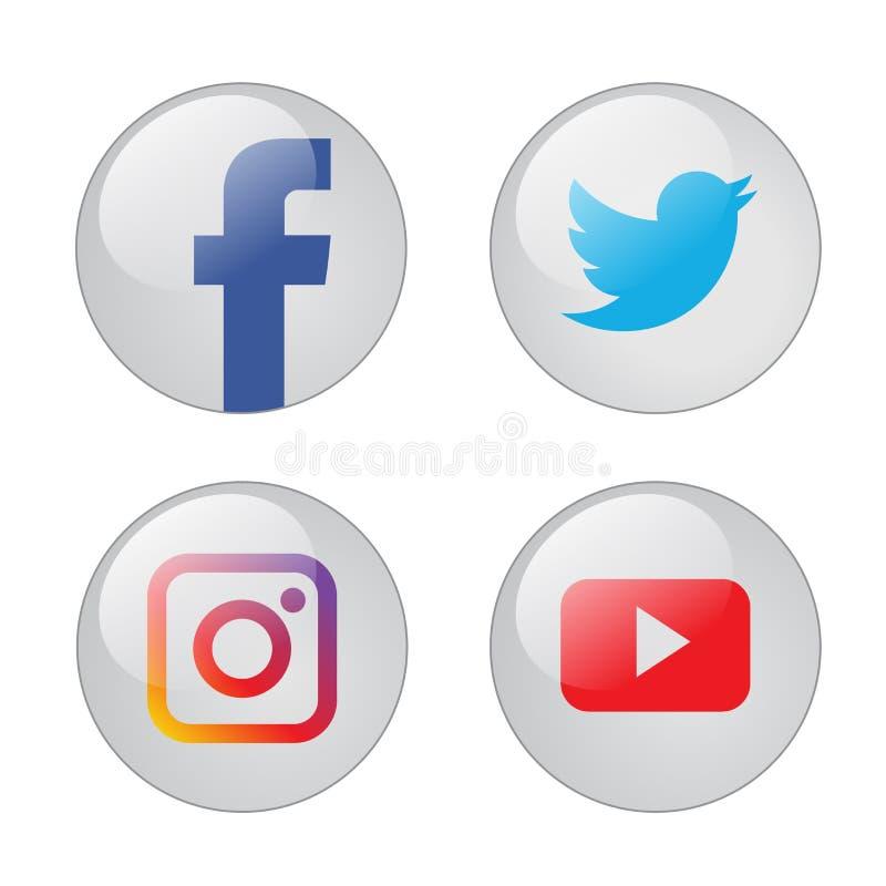 Populära sociala massmediasymboler stock illustrationer