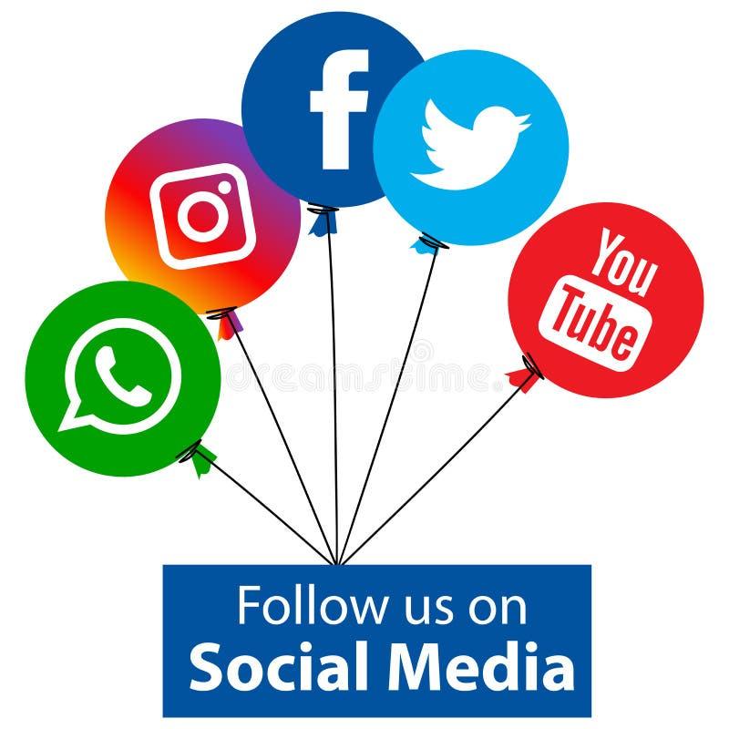 Populära sociala massmediasymbolsballonger stock illustrationer