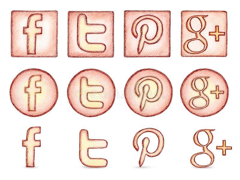 Populära sociala nätverkssymboler royaltyfri illustrationer