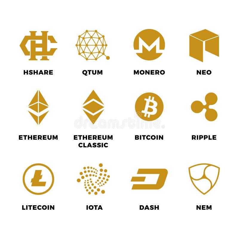Populära symboler för vektor för cryptocurrencybitcoinblockchain vektor illustrationer