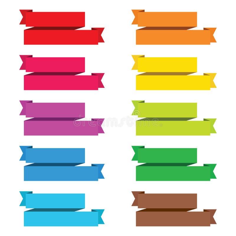 Populäre Farbsatzbandpapierweinlese-Aufkleberfahne lokalisierte VE vektor abbildung