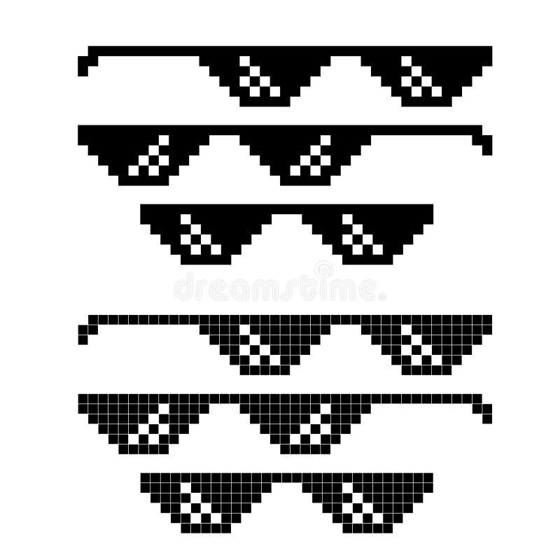 Populäre Meme-Pixel-Gläser eingestellt auf Weiß vektor abbildung