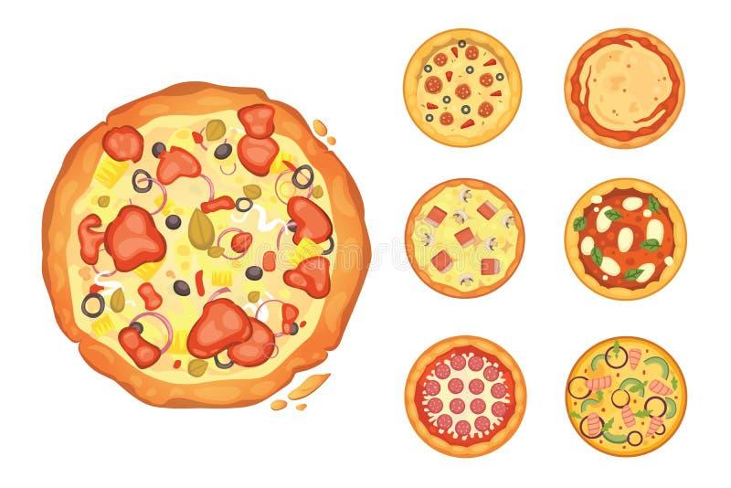 Populäre Pizza Italienische Koch- und Pizzalieferung stock abbildung
