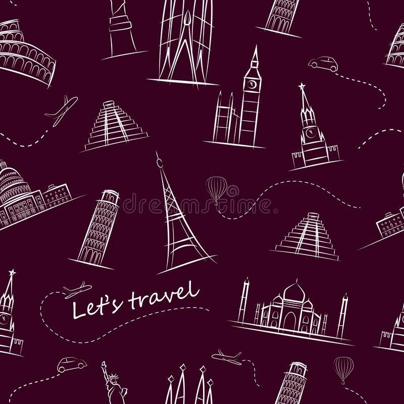 Populärster touristischer Anblick der Welt s Farbiges nahtloses Muster stock abbildung