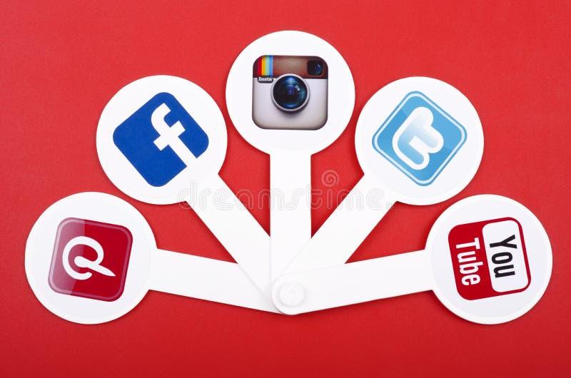 Populärt socialt massmedia royaltyfri bild