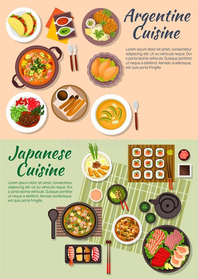 Populair Argentijns en Japans voedsel vlak pictogram vector illustratie