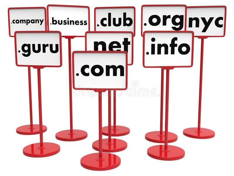 Populaire Domeinnamen, Internet-Concept stock afbeelding