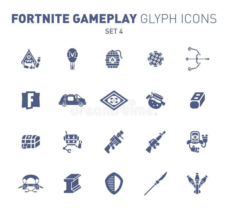 Populaire epische spel glyph pictogrammen Vectorillustratie van militaire faciliteiten Ontploffingspoeder, luchtballon, raketten, stock afbeeldingen