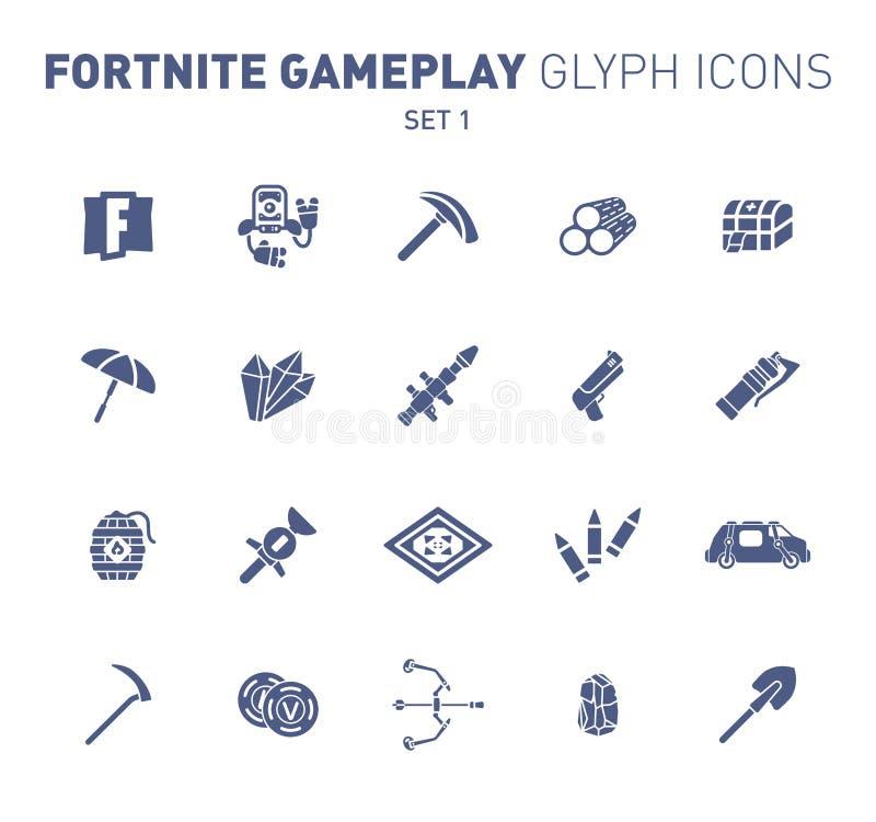Populaire epische spel glyph pictogrammen Vectorillustratie van militaire faciliteiten Robot, pikhouweel, kristal, en wapens soli royalty-vrije stock afbeeldingen