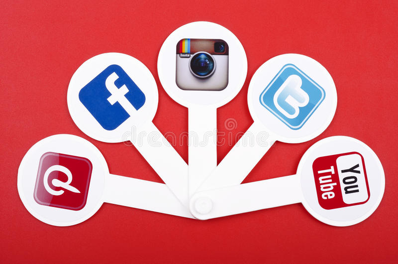 Populaire sociale media royalty-vrije stock afbeelding