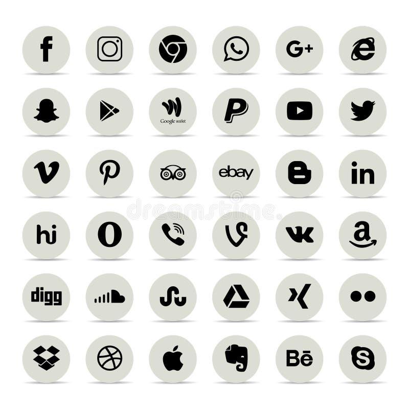 Populaire sociale media pictogrammen zoals: Facebook, Twitter, Blogger, stock illustratie