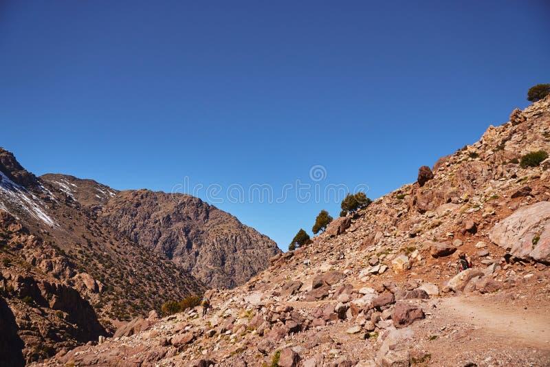 Populaire stijgingssleep aan bergtoevluchtsoorden en Toubkal-piek stock afbeelding