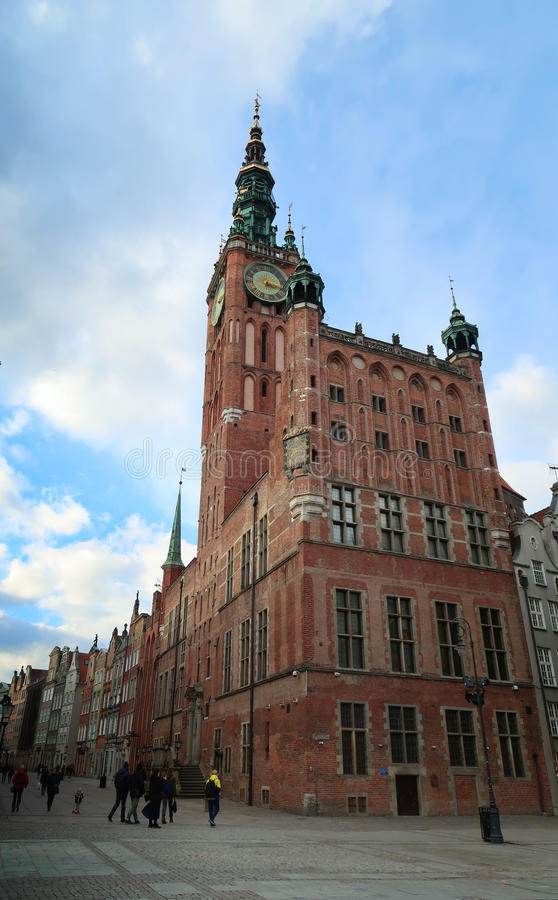 Populairste Hall Clock Tower in Gdansk - Polen - Mokafin stock foto