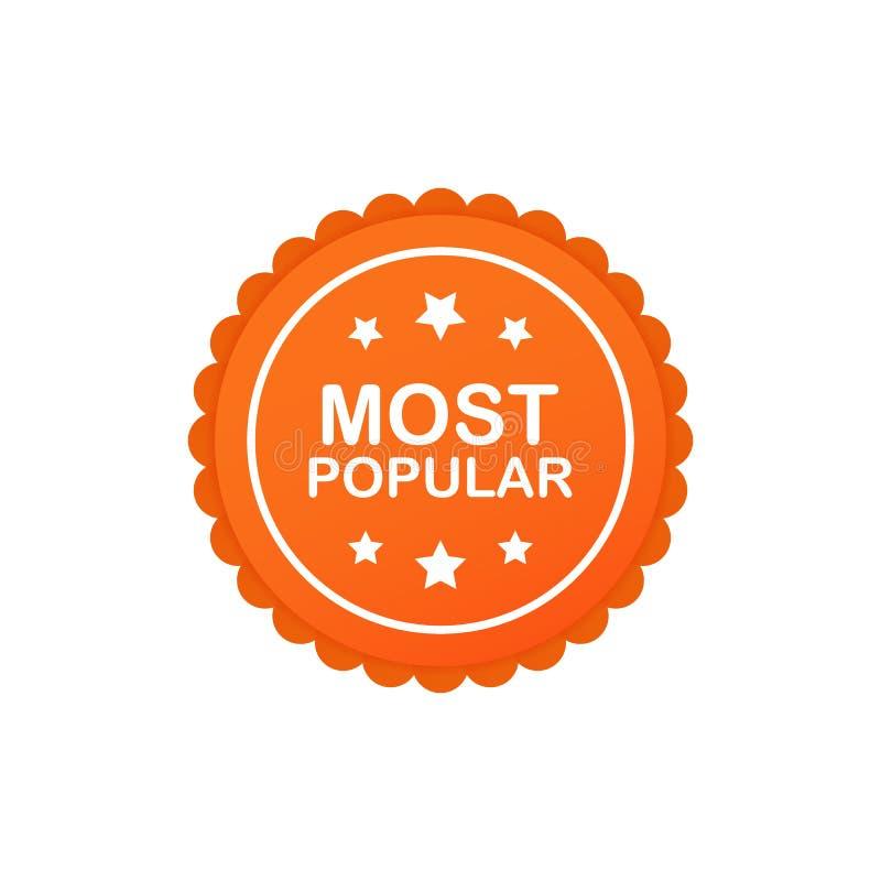 Populairste Kenteken, sticker, rond Etiket Vector illustratie vector illustratie