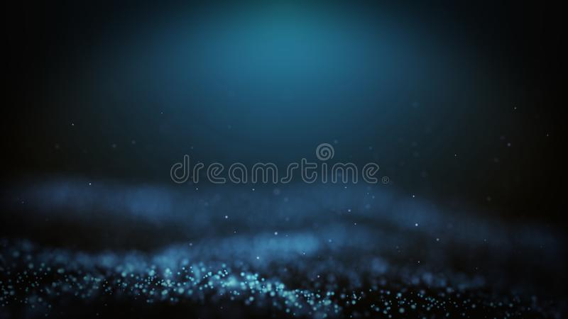 Popular Abstract background shining blue dust particles stars sparks wave 3d animation.  royalty free illustration
