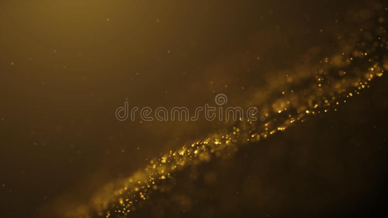 Popular Abstract background shining gold dust particles stars sparks wave 3d animation vector illustration