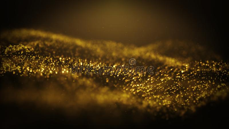 Popular Abstract background shining gold dust particles stars sparks wave 3d animation.  stock illustration