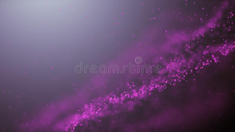 Popular Abstract background shining pink dust particles stars sparks wave 3d animation.  royalty free illustration