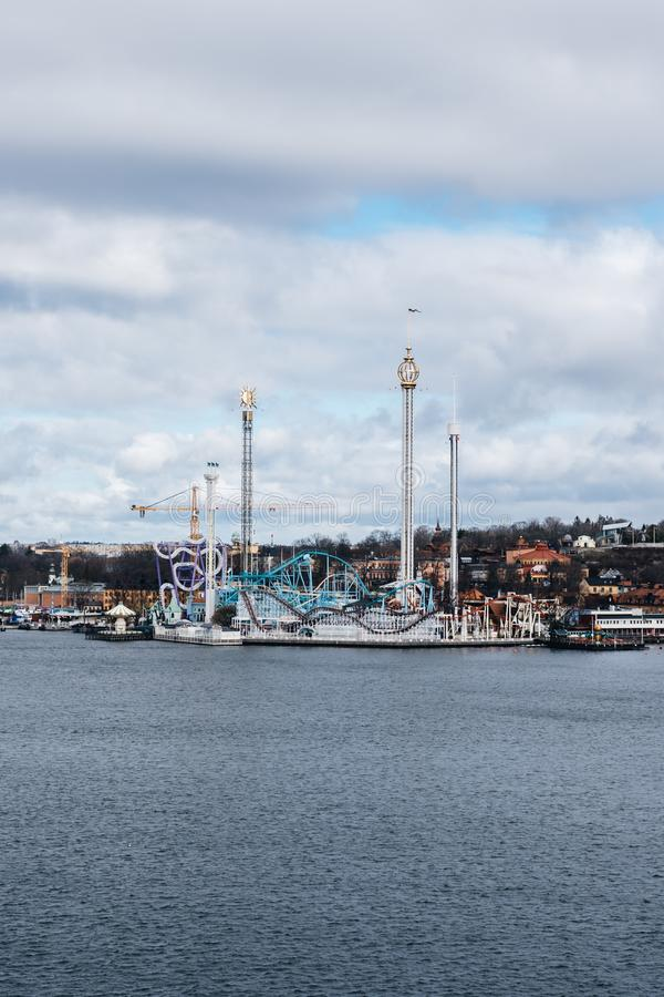 Popular amusement park Gröna Lund on a spring day before the summer season starts royalty free stock photography