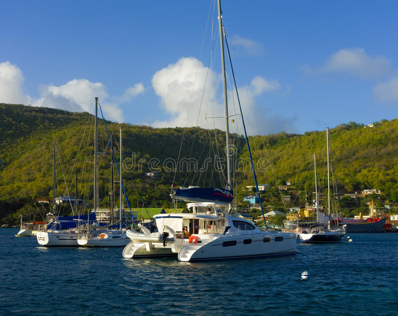 A popular anchorage in the caribbean stock image
