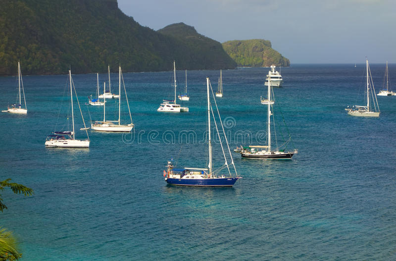 A popular anchorage in the windward islands stock photography