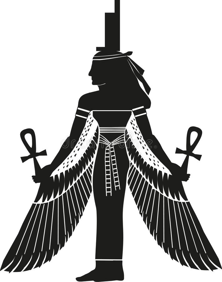 Egyptian Goddess Isis Silhouette. Popular ancient Egyptian Goddess of magic, wisdom, kingship and protector of the kingdom. Also worshiped by the Greeks and royalty free illustration