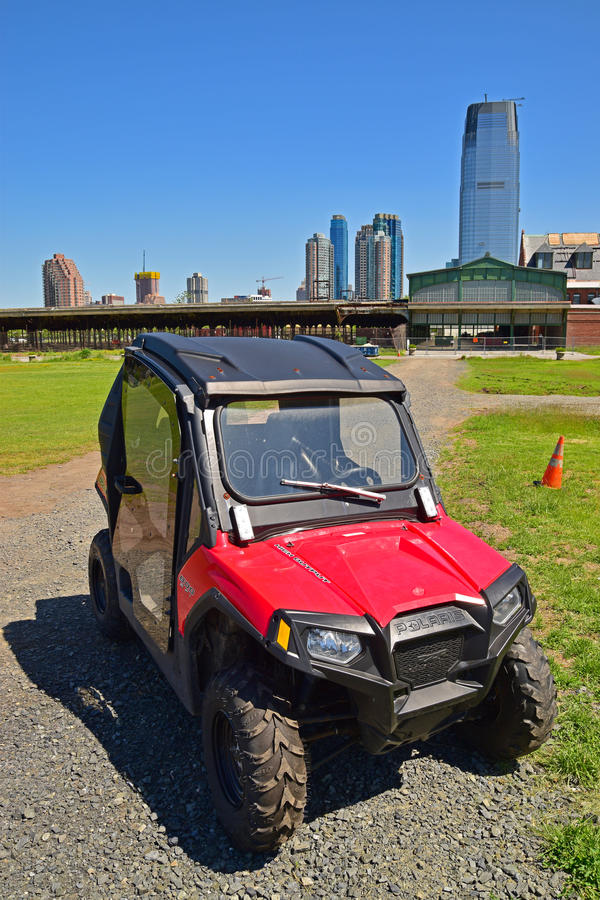 A popular ATV model made by Polaris of USA on Liberty State Park. Polaris Industries is a well known American manufacturer of snowmobiles, ATV, and royalty free stock image