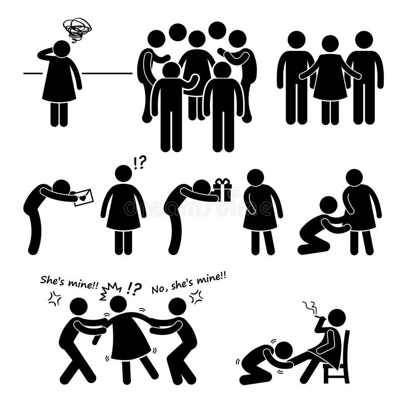 Popular Casanova Womanizer Cliparts. A set of human pictograms representing a popular womanizer situation royalty free illustration
