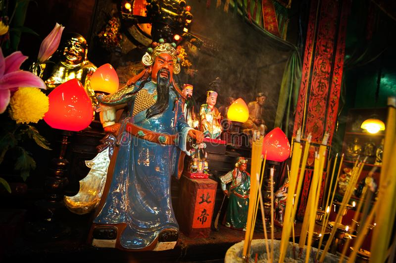 Popular Chinese god Guan Yu at the Tin Hau Temple in Ya Ma Tei, stock images