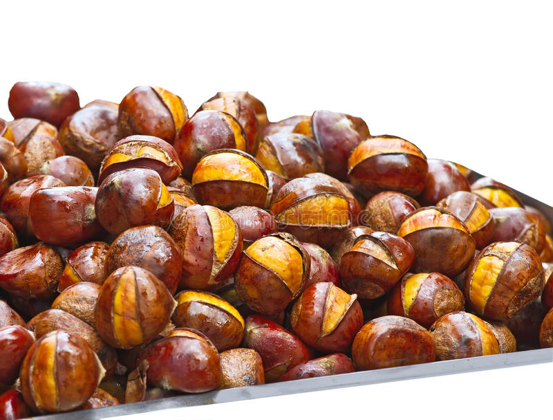 Popular Chinese snack stir fried chestnuts. Isolation of the Popular Chinese snack stir fried chestnuts with sugar stock photography