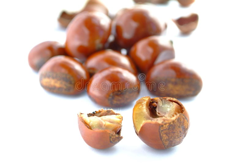 Popular Chinese snack stir fried chestnuts. Open chestnut on white background. Isolation of the Popular Chinese snack stir fried chestnuts with sugar royalty free stock photo