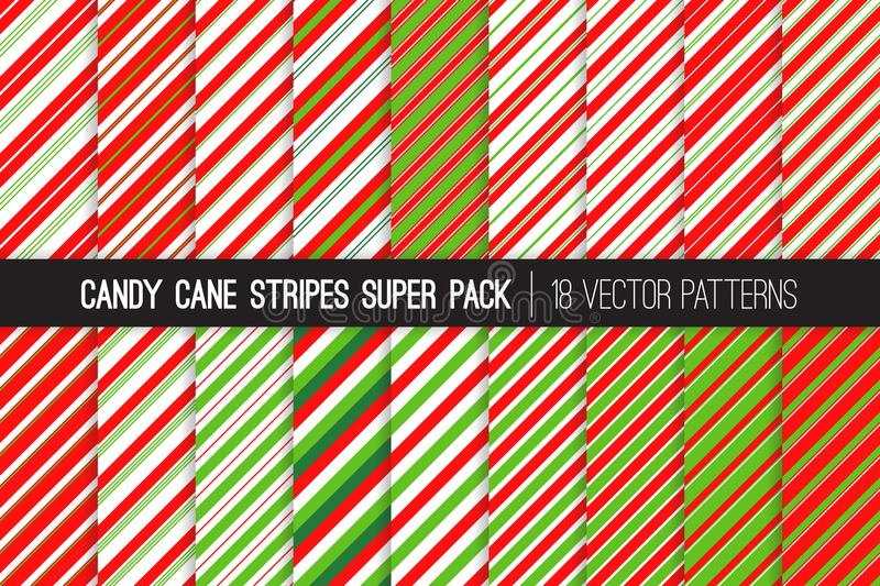 Candy Cane Stripes Vector Patterns in Red, White and Lime Green. royalty free illustration