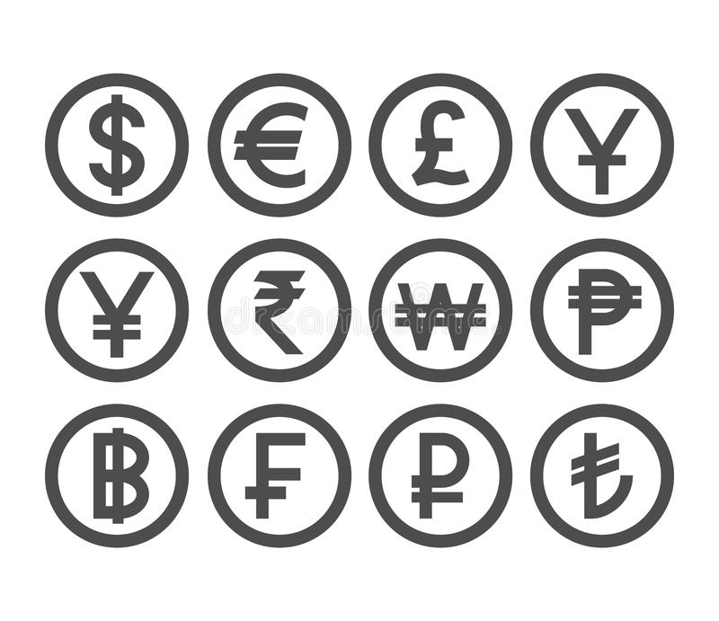 Popular currency coin collection. Countries currencies coins icon set. Coin collection stock illustration