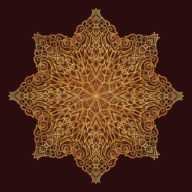 Popular decorative motif in South Eastern Asia. Intricate star shaped ornament. Hand drawing. Golden mandala Isolated on royalty free illustration
