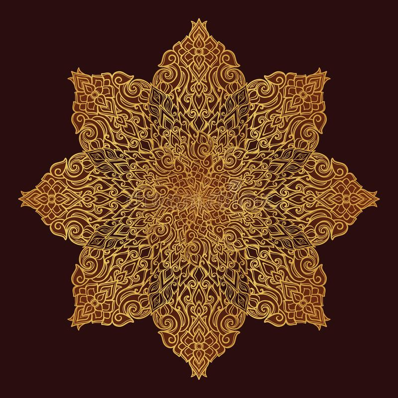 Popular decorative motif in South Eastern Asia. Intricate star shaped ornament. Hand drawing. Golden mandala Isolated on stock illustration