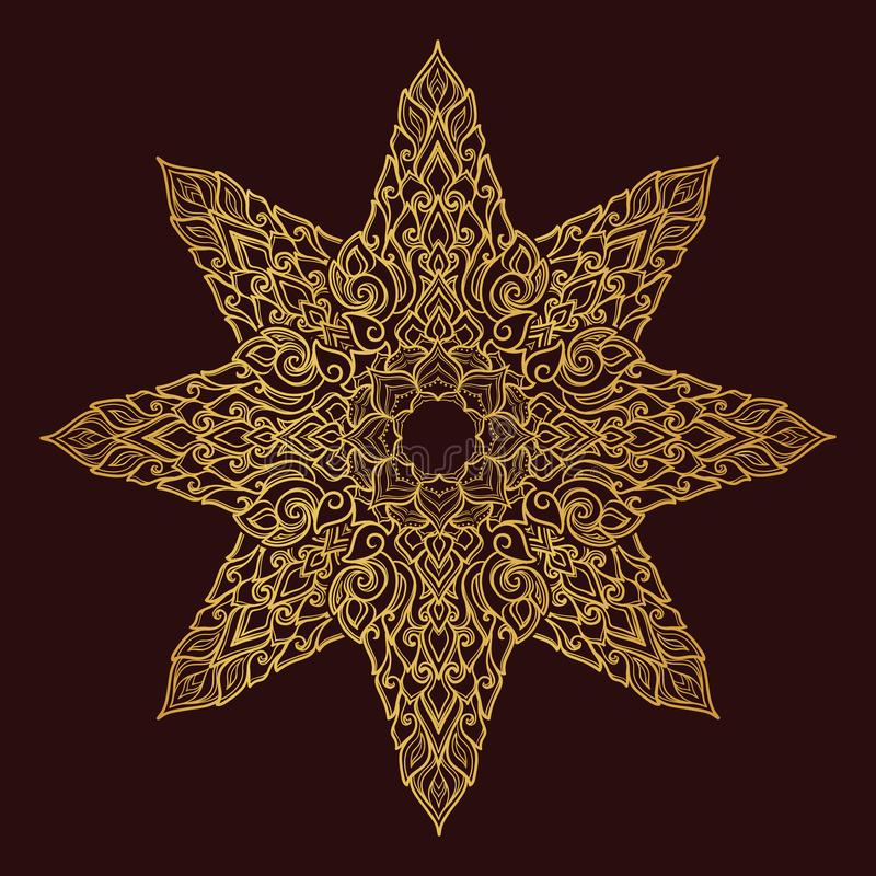 Popular decorative motif in South Eastern Asia. Intricate star shaped ornament. Hand drawing. Golden mandala Isolated on vector illustration