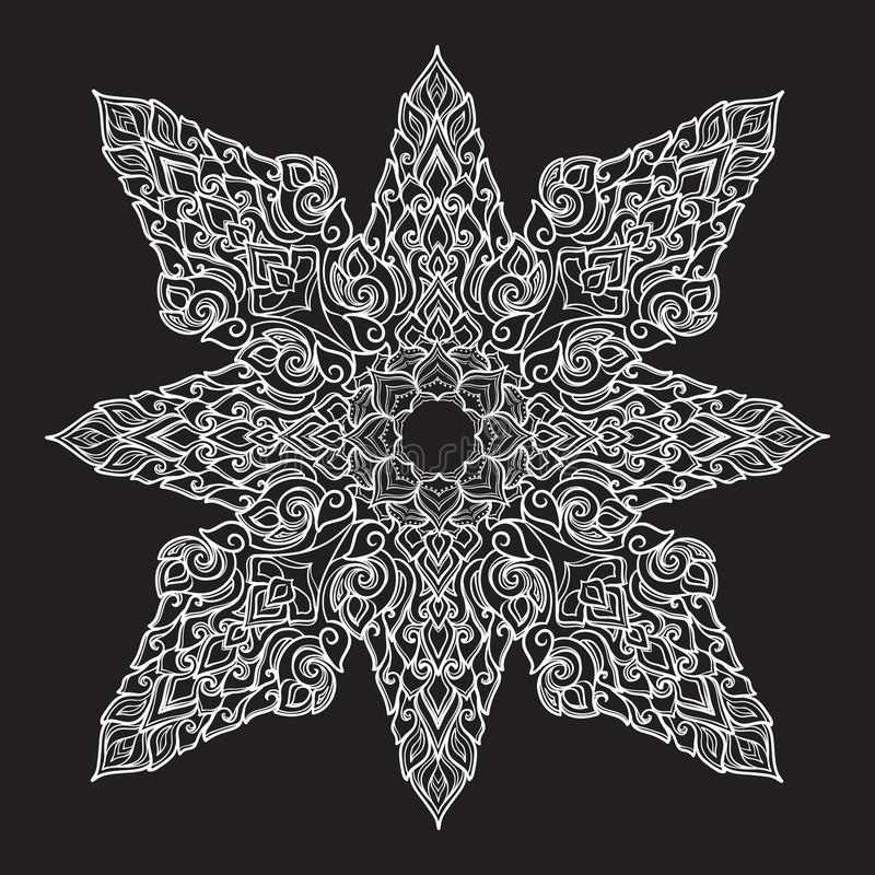 Popular decorative motif in South Eastern Asia. Intricate star shaped ornament. Hand drawing. Tattoo design. Isolated on vector illustration