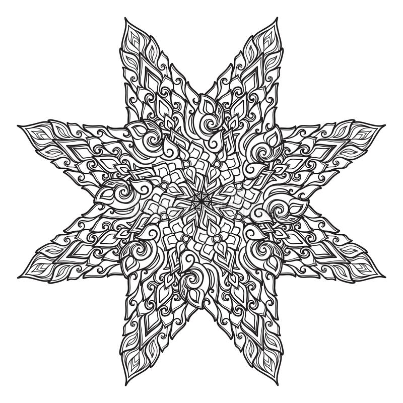 Popular decorative motif in South Eastern Asia. Intricate star shaped ornament. Hand drawing. Tattoo design. Isolated on royalty free illustration