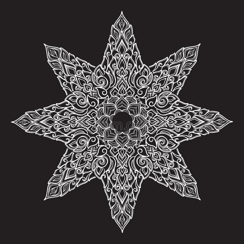 Popular decorative motif in South Eastern Asia. Intricate star shaped ornament. Hand drawing. Tattoo design. Isolated on stock illustration