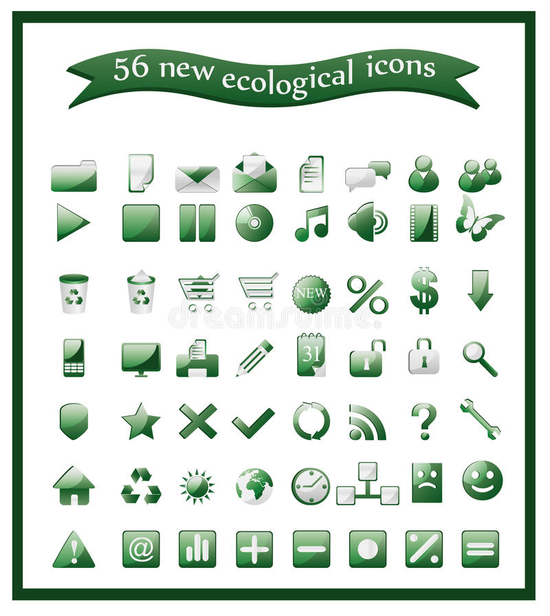 Download Popular ecological icons stock vector. Image of design - 20951900