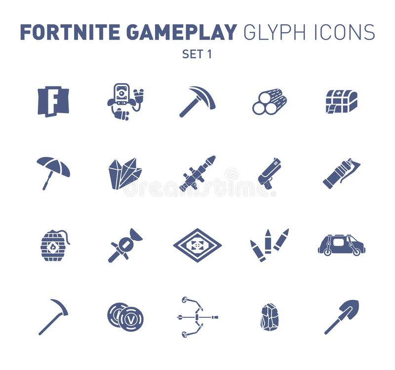 Popular epic game glyph icons. Vector illustration of military facilities. Robot, pickaxe, crystal, and weapons. Solid royalty free stock images