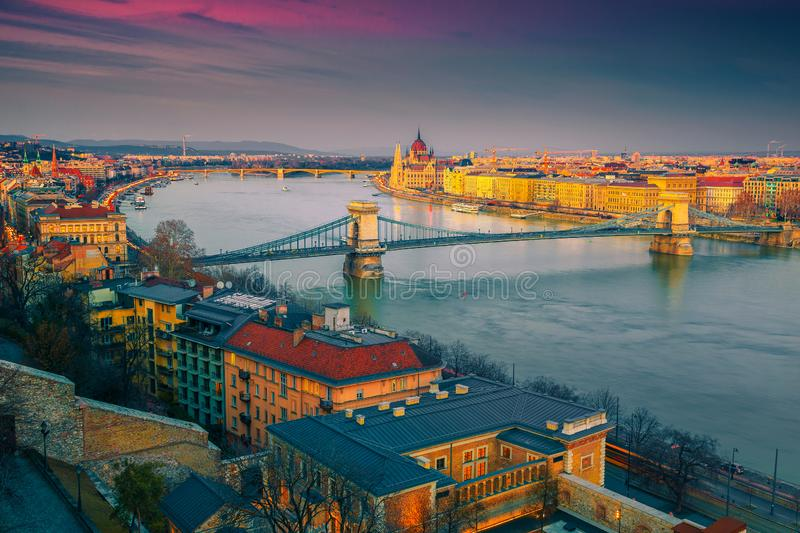 Majestic Chain bridge and Parliament building at sunset, Budapest, Hungary royalty free stock photography