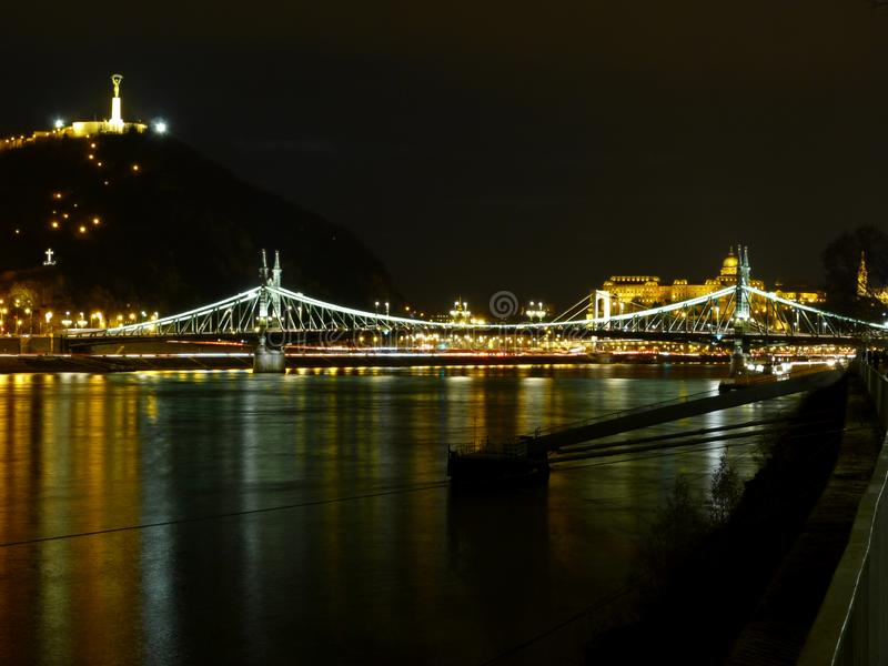 The famous Liberty bridge at night in Budapest stock photo