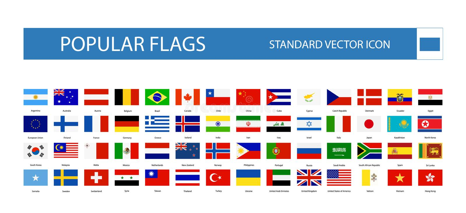 Popular flags standard flat icon. Vector collection stock illustration