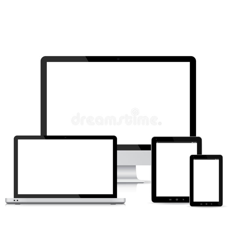 Popular full responsive web design electronic devices vector stock illustration